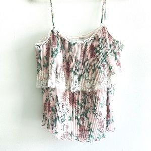 ADELYN RAE pleated layered lace floral cami Small